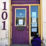 Look for the purple door